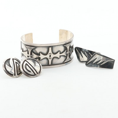 Sterling Silver Overlay Cuff and Earrings