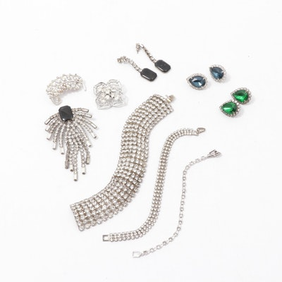 Collection of Vintage Rhinestone Jewelry Featuring Trifari