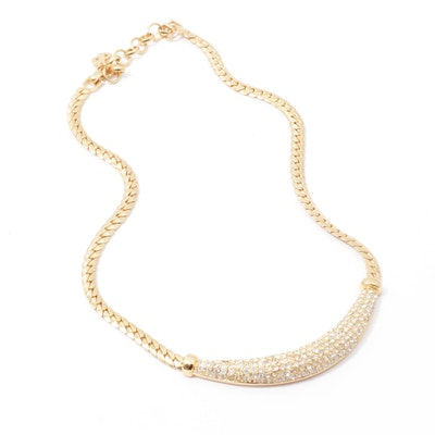 Christian Dior Gold Tone Rhinestone Necklace
