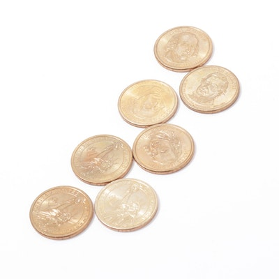 Collection of U.S. President Golden Dollar Coins