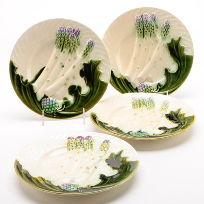 Salins Majolica Asparagus and Artichoke Plates, Late 19th/ Early 20th Century