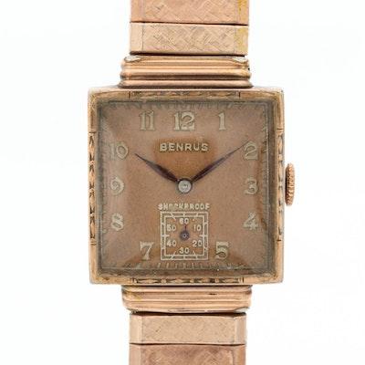Vintage Benrus Rose Gold Tone Stem Wind Wristwatch