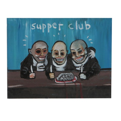 "N. Scott Carroll 2019 Acrylic Folk Painting ""Supper Club"""