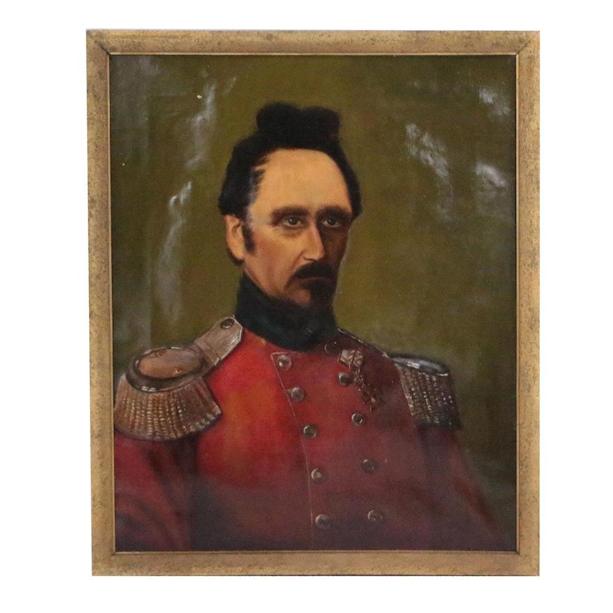 19th Century Danish Military Portrait Oil Painting of Nicolaus Kauffmann