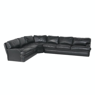 Contemporary Black Faux Leather Sectional Sofa by Swaim