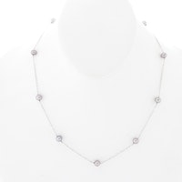 14K White Gold Cultured Freshwater Pearl Station Necklace