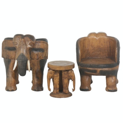 Carved Tropical Hardwood Elephant Chairs and Table, Mid to Late 20th Century
