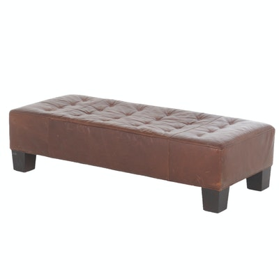 Contemporary Mitchell Gold Brown Leather Bench