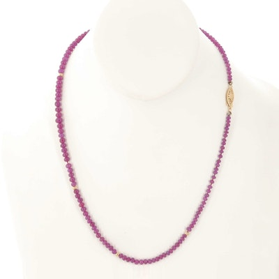 14K Yellow Gold Ruby Graduated Beaded Necklace