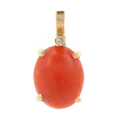 14K Yellow Gold Coral and Diamond Pendant