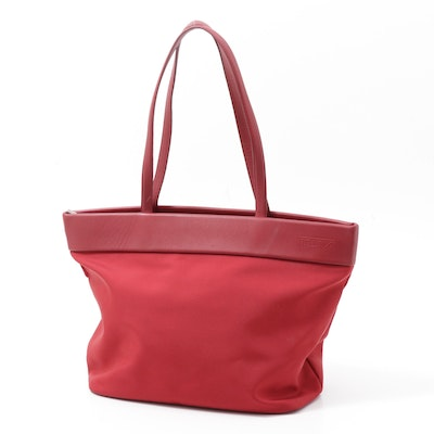 Tumi Red Canvas and Leather Tote Bag