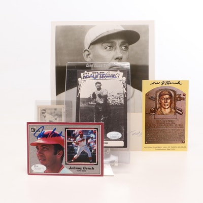 Edd Roush, Johnny Bench, and Johnny Vander Meer Signed Baseball Photos and Cards