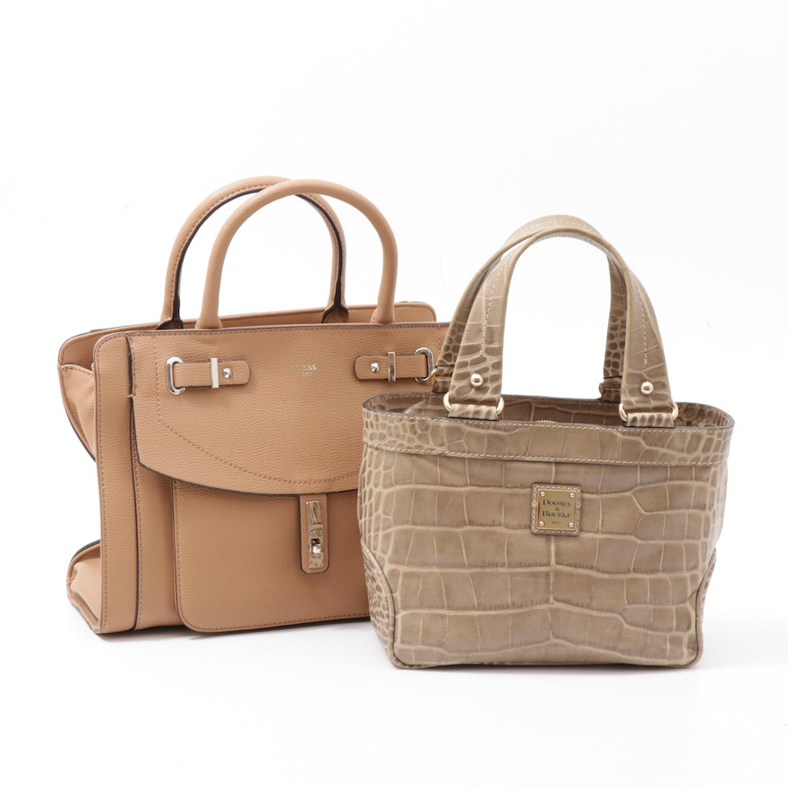 Dooney & Bourke Croc Embossed Leather and Guess Pebbled Faux Leather Handbags