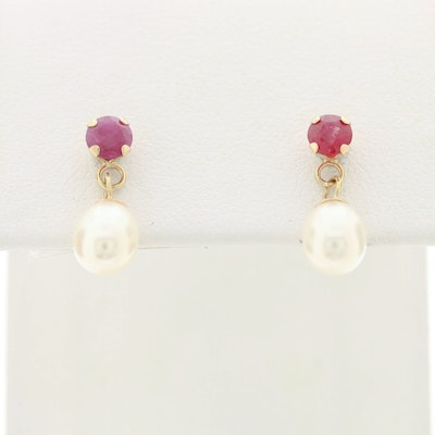 14K Yellow Gold Ruby and Cultured Pearl Dangle Earrings