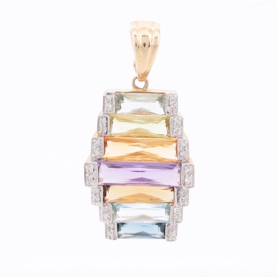14K Yellow Gold Diamond and Gemstone Enhancer Pendant