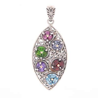 Robert Manse Sterling Pendant with Amethyst, Garnet, Blue Topaz and 18K Accents