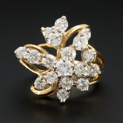 18K Yellow Gold 1.50 CTW Diamond Ring with 14K White Gold Accents