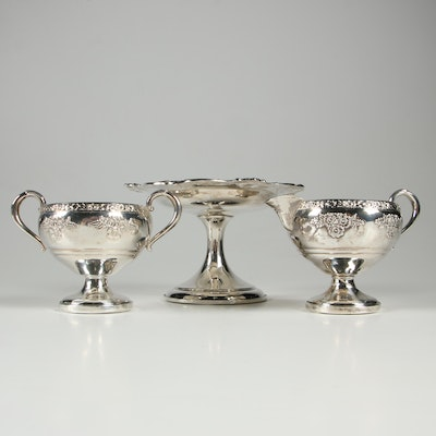 Gorham Sterling Silver Compote With Fisher Silversmiths Creamer and Sugar