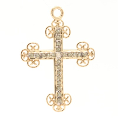 14K Yellow Gold Diamond Budded Cross Pendant