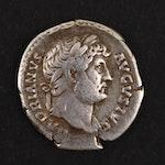 Ancient Roman Imperial AR Denarius of Hadrian, ca. 135 A.D.