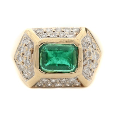 14K Yellow Gold 1.27 CT Emerald and Diamond Ring