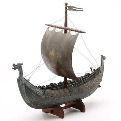 Iron Viking Drakkar Longship Replica Model with Stand, Contemporary