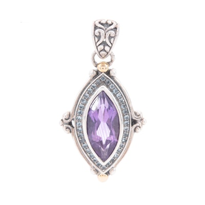 Robert Manse Sterling Pendant with Amethyst, Blue Topaz and 18K Gold Accents