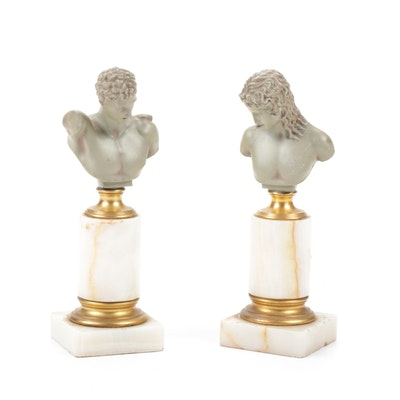 Gladenbeck & Sohn Bronze on White Onyx Classical Style Busts, Late 19th Century