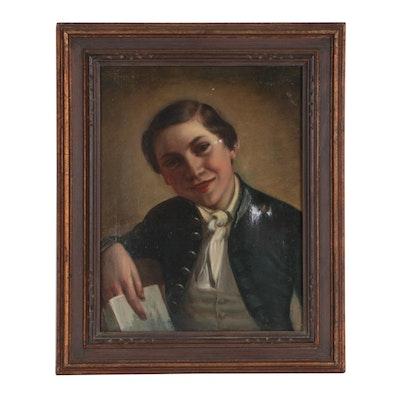 Johann Baptist Reiter Late 19th Century Oil Portrait of a Boy