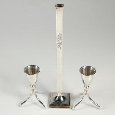 Reed & Barton Sterling Silver Bud Vase with Mexican Sterling Silver Candlesticks