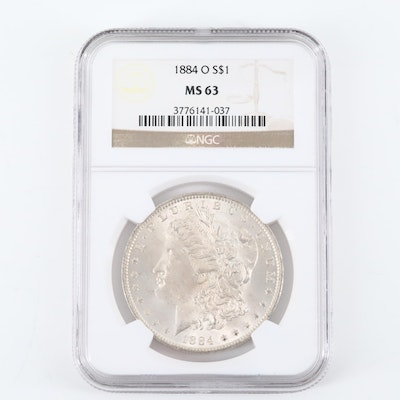 NGC Graded MS63 1884-O Silver Morgan Dollar