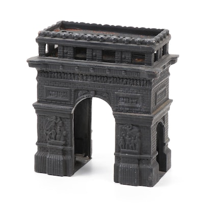 Vintage Cast Iron Arc de Triomphe Votive Candle Holder