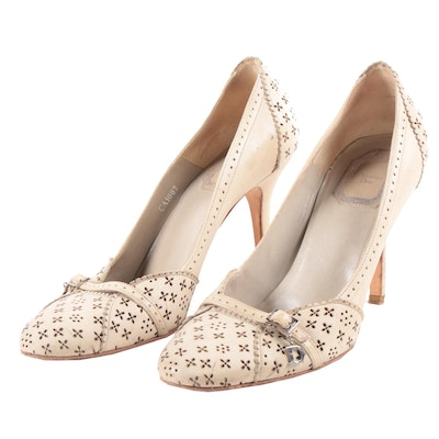 Christian Dior Perforated Leather Pumps with Scalloped Accents