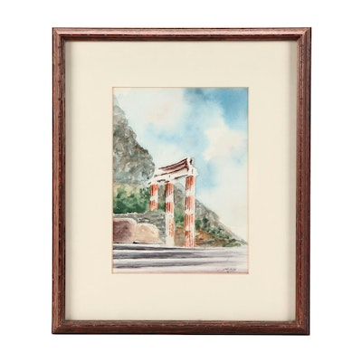 Watercolor Painting of Ruins in Landscape