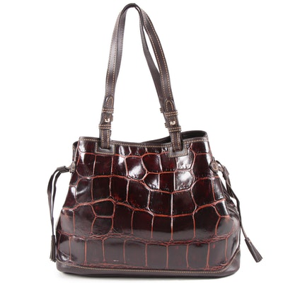 Dooney & Bourke Dark Brown Embossed Leather Shoulder Bag