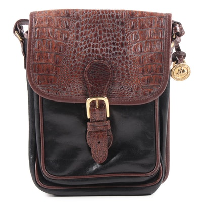 Brahmin Two-Tone Croc Embossed Leather Front Flap Crossbody