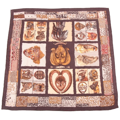 "Hermès Paris ""Persona"" Cashmere and Silk Scarf Designed by Loïc Dubigeon"