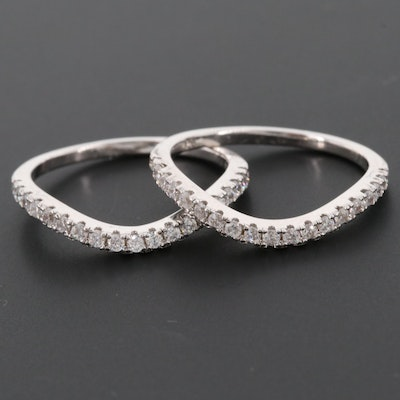Sterling Silver Cubic Zirconia Shadow Bands