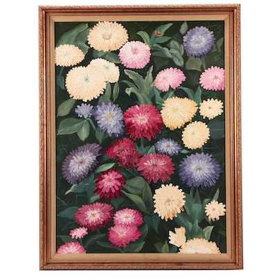 Oil Painting of Zinnia Flowers