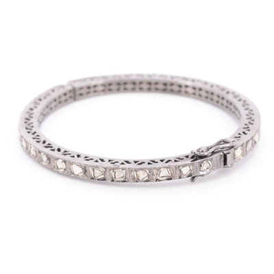 Sterling Silver Diamond Hinged Bangle Bracelet