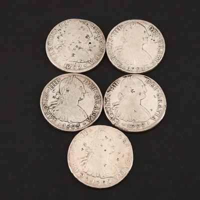 Five Spanish Colonial Silver 8-Reales Coins, 1787 to 1803