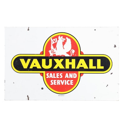 "Vintage Walker & Co. ""Vauxhall Sales and Service"" Enamel Sign"