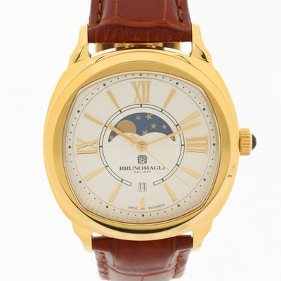 Brunomagli Rose Gold Tone Moon Phase Quartz Wristwatch