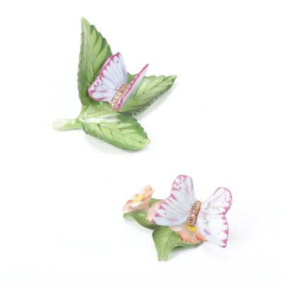Herend Butterfly on Leaf Place Card Holders
