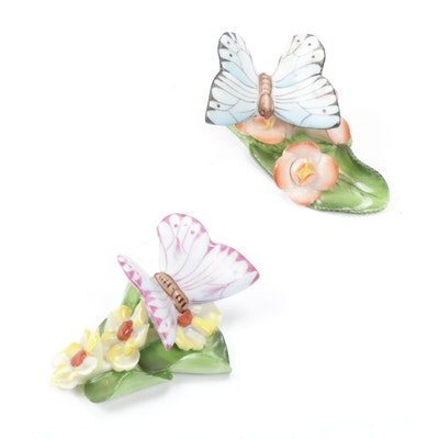 Herend Butterfly with Flowers on Leaf Place Card Holders