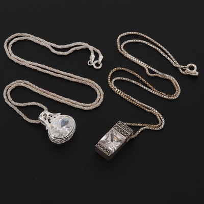 Sterling Silver Cubic Zirconia and Marcasite Pendant Necklaces