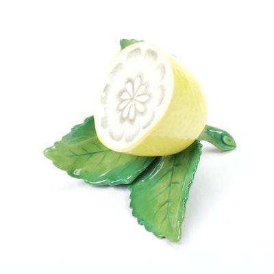 Herend Lemon on Leaf Porcelain Place Card Holder