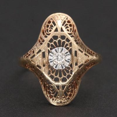 Vintage 10K Yellow Gold Diamond Ring