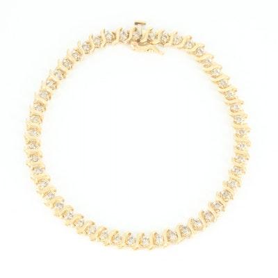 10K Yellow Gold 2.00 CTW Diamond S-Link Bracelet