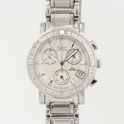 Invicta Wildflower Stainless Steel Diamond Chronograph Wristwatch
